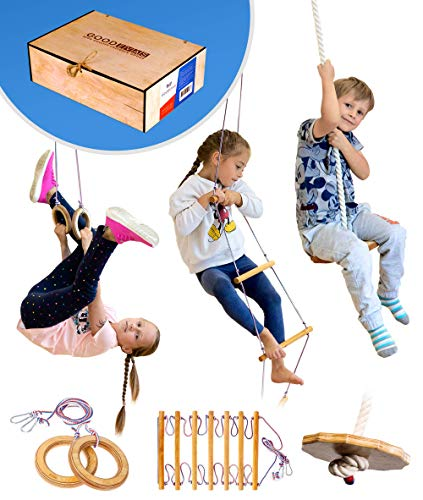 Kids Gym Set: Round Disk Swing, Rope Ladder, Gymnastics Rings – Indoor Jungle Gym for Playground - playset in Wooden Box for Kids 3-9 y.o