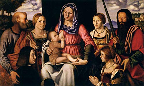 "Bernardino Luini Virgin and Child with Saints and Donor 1507 Musei Civici Agli Eremitani 30"" x 18"" Fine Art Giclee Canvas Print (Unframed) Reproduction"