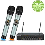 Wireless Microphone with Bluetooth, Echo, Treble, Bass, UHF Dual Wireless Handheld Dynamic Karaoke Microphone System, 160 Ft Range, for YouTube Karaoke, TV, iPhone, PC, Speaker, PA, Amplifier, Singing