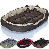 PetViolet Hundebett Katzenbett flauschig, waschbar mit wendbarem Kissen, wasserabweisend, XL, Beige