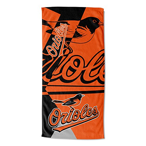"Officially Licensed MLB Baltimore Orioles ""Puzzle"" Beach Towel, 34"" x 72"", Multi Color"