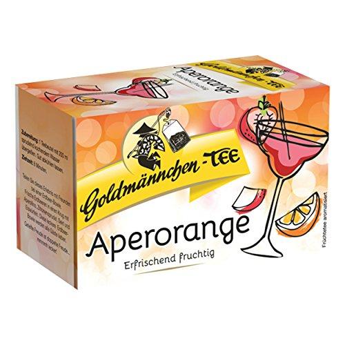 Goldmännchen Tee Aperorange, Früchtetee, Früchte Tee, Rhabarber, Orange, 20 einzeln versiegelte Teebeutel