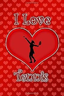 I Love Tennis: Red hearts I love tennis journal