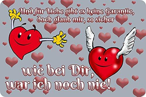 Metalen bord 30 x 20 cm Voor de liefde is er geen garantie spreuken metalen bord