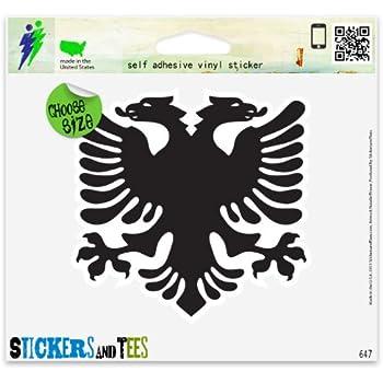 Two Pack Albanian Flag Sticker FA Graphix Decal Self Adhesive Vinyl Albania ALB AL