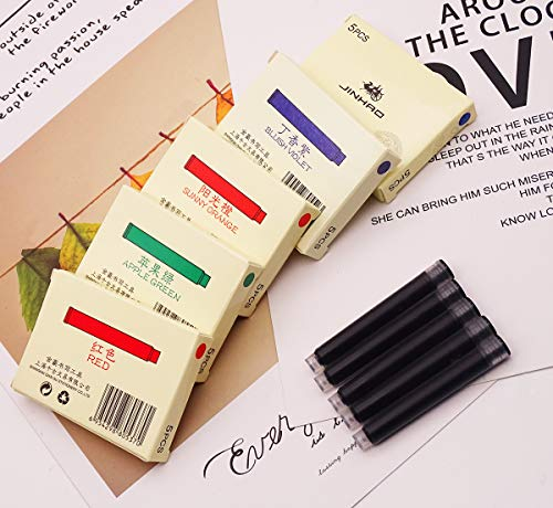 30 PCS Jinhao Fountain Pens Ink Cartridge, 6 Colors (Black, Blue, Red, Violet, Green, Orange)