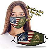 Personalized Custom Name United States US Army Soldier Officer Insignia Rank Military Design Print Cloth Reusable Washable Face Mask Double Layer Fabric Masks Dust Protection for Men Women - DSVTH