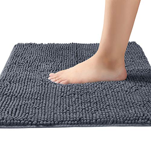 BEDELITE Dark Gray Chenille Bathroom Rugs 17x24 Inches, Extra Soft and Water-Absorbent Microfibers Carpet, Machine Washable Non Slip Shaggy Bath Mat for Bathtub, Shower and Bath Room