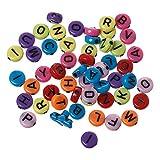 SiAura Material 1000 Stück Acrylperlen 7mm mit 1,7mm Loch, Flach Rund, Buchstaben Mix Bunt zum Basteln und Auffädeln