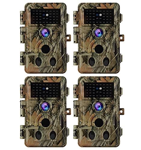 4 팩 스텔스 카모 게임 트레일 카메라 옥외 사슴 및 야생 동물 사냥 24MP 그림 1296P 비디오 120 ° 광각 90FT 야간 투시경 및 모션 활성화 0.1S 트리거 속도 IP66 방수