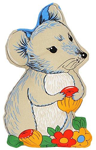 Kuschelkissen -  Maus  - 19 cm * 27 cm - Schmusekissen - 100 % Baumwolle - Made in Germany - Kissen kleines Plüschkissen / Stofftier - Babykissen - für Baby..