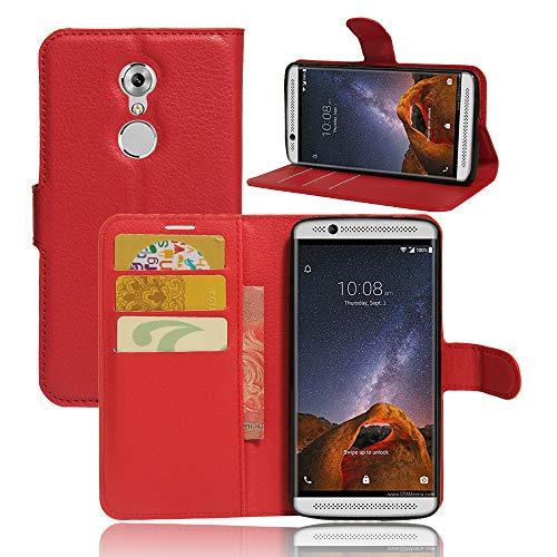 betterfon ZTE Axon 7 Mini hülle,handyhülle Book case Bumper Handytasche Klapphülle mit Kartenfächer Standfunktion für ZTE Axon 7 Mini Rot