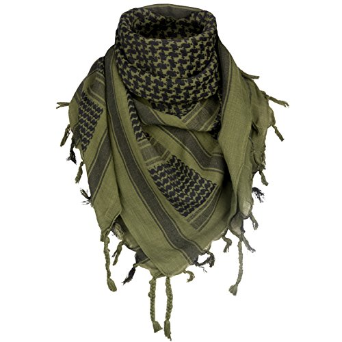 Survival General 100% Cotton Shemagh Tactical Military Keffiyeh Scarf Wrap Emergency Towel (Green/Black)