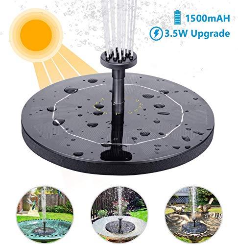 AISITIN Fontana Solare 3.5W Fontana Solare per Giardino con Pompa ad Acqua con Batteria da 1500 Ah, Piastra Galleggiante Circolare con 6 Ugelli per Or