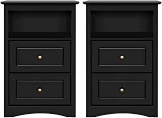 Yaheetech Tall Nightstand Bedside Table End Side Sofa Table with 2 Drawers and Open Shelf - Storage Cabinet Accent Table for Bedroom, Set of 2, Black