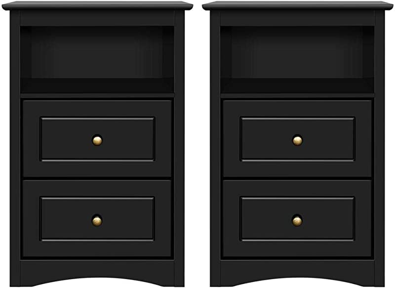 Yaheetech Tall Nightstand Bedside Table End Side Sofa Table With 2 Drawers And Open Shelf Storage Cabinet Accent Table For Bedroom Set Of 2 Black