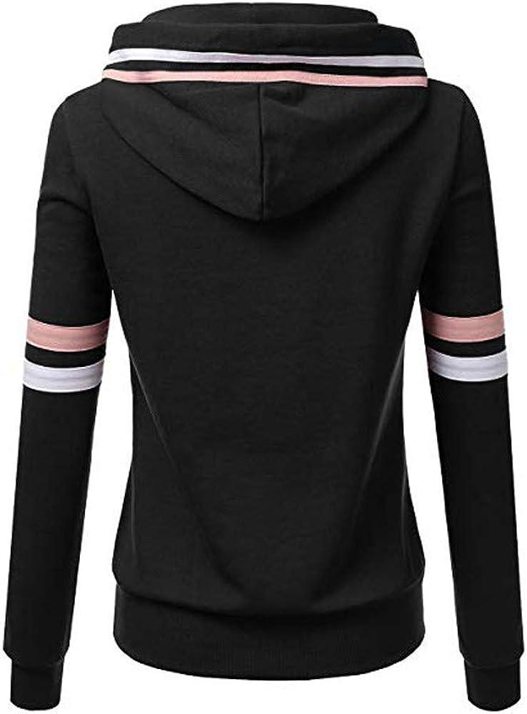 POTO Womens Lightweight Hoodie Sweatshirt Stripe Long Sleeve 1//4 Zipper Hooded Pullover Tops Casual Jacket with Pockets