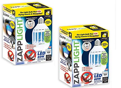 2 Pack ZappLight LED 920 Lumens Bug Zapper Bulb Insect and Mosquito Zapper