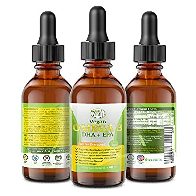 Potent & Organic Vegan Omega 3 Liquid Supplement: Better Than Fish Oil! Plant Based Water Extracted Algae Oil- DHA EPA DPA Fatty Acids- Non GMO- Supports Immune, Heart, Brain & Joint Health- 60 Doses