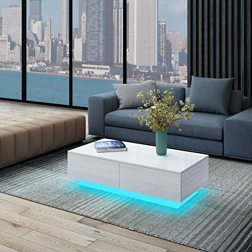 UNDRANDED Moderner Couchtisch Hochglanz mit 4 Schubladen Sofatisch Beistelltisch für Wohnzimmer 95 x 60 x 31cm (Weiß mit LED Streifen)