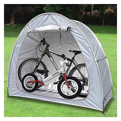 Tenda da Bici, 21 0D PU4000. Coperchi per Bici di Protezione Portatile addensati per 2 Bicicletta Oxford Argento Rivestimento in Argento Impermeabile Bicycle Storage Stoccaggio (Color : Grey)