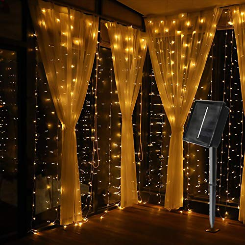 jar-owl Solar Curtain String Lights Waterproof 9.8FT9.8FT 300 LED 8 Modes for Home/Garden/Patio Wedding/Christmas Party (Warm White)