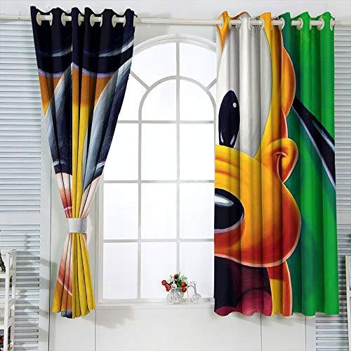 Cortinas aisladas Mic-key Min-nie Mouse Cortinas para dormitorio infantil oscurecimiento de la habitación, cortinas opacas para ventana de 63 x 63 pulgadas