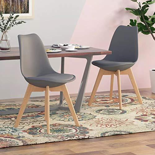 SYN-GUGAI Möbel 4er Set Esszimmerstühlen Scandinavian Design Coffee Side Chairs mit Massivholzbeinkissen Schreibtischstühle für die Küche Esszimmer (Color : Grey)