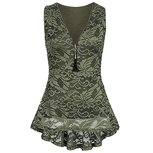 Shirt Mujer Camiseta Mujer Elegante Chic Sexy Cuello En V Profundo Cremallera Sin Mangas Top Encaje Dulce Dobladillo Irregular Moda Casual Mujer Tops Mujer Blusa F-Green 3XL