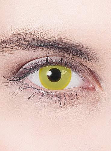 Kontaktlinsen Jahreslinsen - gelbe Motivlinse mit Sehstärke - Dioptrien: -3,5 - ideal für Halloween, Karneval & Motto-Party