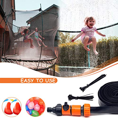 Ultimate Waterpark - 49ft Trampoline Sprinkler for Kids, Trampoline Accessories, Best Kids Water Toys, Outdoor Toys, Fits all outdoor Trampoline For Kid, Inflatable water park Ball &100 Water balloons