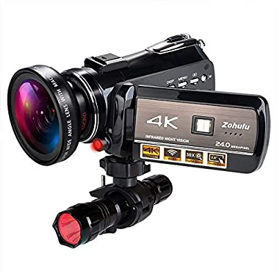 4K Wifi Full Spectrum Camcorders, Ultra HD Infrared Night Vision Paranormal Investigation Video Camera with 60fps 24MP 30X Digital Zoom - Ghost Hunting Camera(with 2 batteries, 32GB SD card included) from Ancter