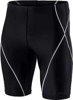 TSLA Men's Swim Jammers, Athletic Racing Swimming Shorts Trunks, UPF 50+ Sun Protection Endurance Triathlon Swimsuit