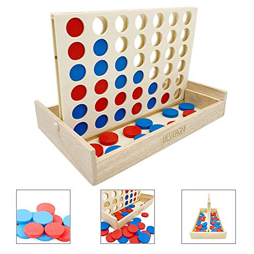 JEVERGN Wooden Wood 4 in a Row Game - Classic Family Fun Toys - Line Up 4 for Board Games, Travel Games