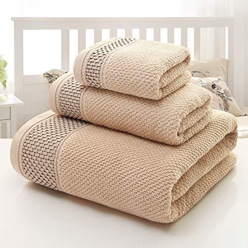 ESORST 100% algodón de 3 Piezas Hojas de Juego de baño Extra Grandes Toallas - Multicolor (Color : Light Brown, Size : 3-Piece Set)