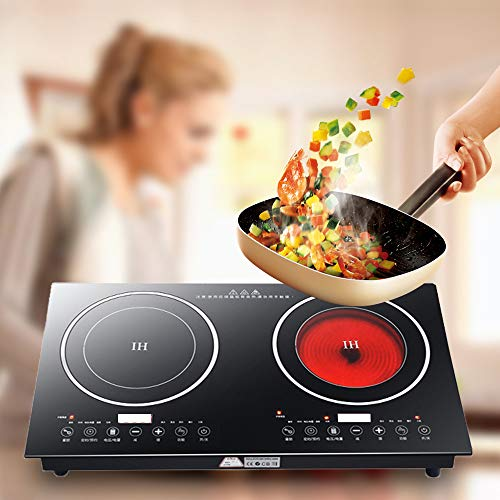 Electric Induction Cooker - Portable 2200W 8 Levels Electric Dual Induction Cooker Cooktop Countertop Double Burner Suitable for Cast Iron, Stainless Steel Cookware and Kitchen or Resturant