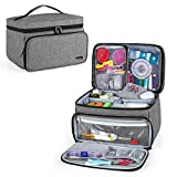 Luxja Sewing Accessories Organizer with 2 Detachable Clear Pockets, Sewing Supplies Organizer (Patent Pending), Gray