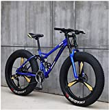 XHJZ Mountain Bikes, 26 Inch 4.0 Fat Tire Hardtail Mountain Bike, Dual Suspension Frame and Suspension Fork All Terrain Mountain Bike,Blue,21 speed