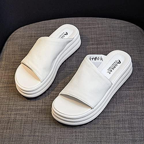 N&W EVA Open Toe Soft Slippers Leather Zippers Thick Sand Beach-White_39 Casual Beach Wedge Slipper