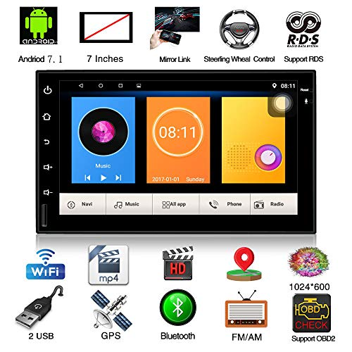 Henhaoro 7' Android Car Stereo GPS Navigation Touch Screen Radio Receiver No DVD 2 DIN Resolution 1024x600 Head Unit Version 2019