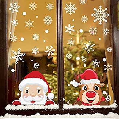 178 PCS Christmas Window Clings Snowflake Stickers for Glass, Xmas Decals Decorations Snowflake for Christmas Windows