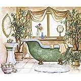 TREESTAR DIY 5D Kit de Pintura de Diamante Cuadrado, Juego de Bordado de Cristales Coloridos, Cuadro de Punto de Cruz para decoración de la Pared del hogar, baño 25 x 30 cm