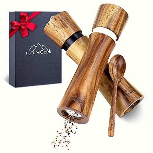 Pfeffermühlen aus Holz – PREMIUM | Salz und Pfeffer-Mühle hochwertig (21 cm) | Gewürzmühlen Set für Salz und Pfeffer – mit Einfülllöffel | Elegantes Geschenk zur Hochzeit