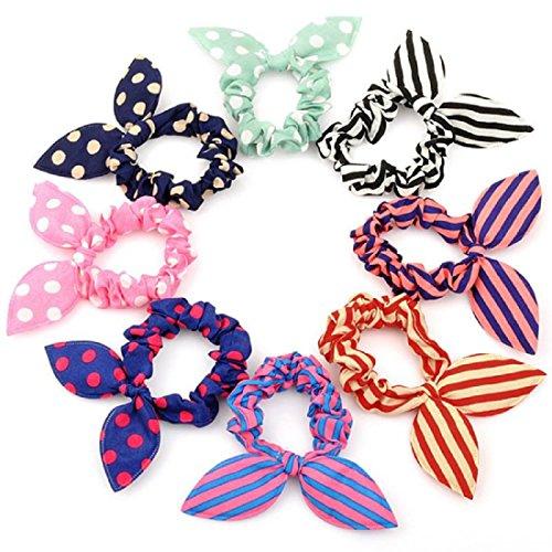 Miya® Set van 6 super schattig Bunny oor haarelastiek, gestippeld, gestreept, ruitpatroon, mooie haaraccessoires, hoogwaardige haarband paardenstaart houder