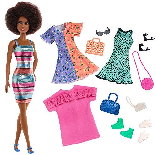 Barbie Muñeca Afroamericana con Accesorios de Moda, Juguete Niñas y Niños +3 Años (Mattel GHT32) , color/modelo surtido