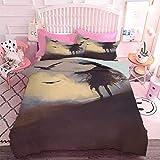 Hiiiman Decoración del hogar, silueta textil de mujer sexy tumbada en una hamaca en Majestic Sunset View Dream Print 1 funda de edredón y 2 fundas de almohada