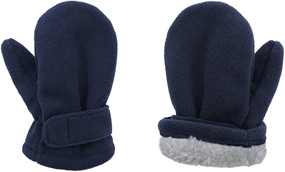 Durio Toddler Mittens Sherpa Baby Boy and Girl Unisex Gloves Kids and Baby Lined Fleece Winter Mittens Navy X-Large (Fits 4-7 Years)