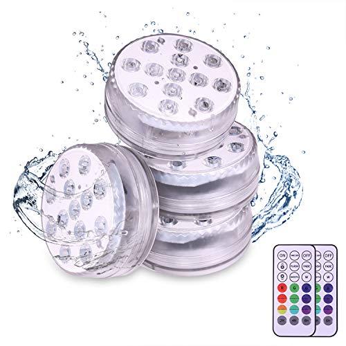 4pcs Unterwasser LED Licht, Pool Beleuchtungen,13 Farben RGB Mehrfarbige Mini LED Kerzenlicht Bad Wasserdichte Teich mit 2 Fernbedienung für poollicht,pool zubehör,Badewanne,Mini Aquarium (4)