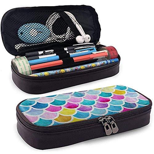 Échelles de sirène colorées PU Sac à stylo en cuir PU 20 * 9 * 4 cm (8X3.5X1.5 Pouces) Pochette Titulaire Fournitures Sac Cosmétique
