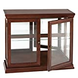 Double Door Curio w/ Mirror Back Wall - 2 Fixed Shelves - Chic Style Mahogany Finish